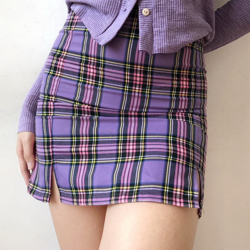 ¡Novedad de 2020! Faldas de tubo de estilo Harajuku con corte coreano sexi a cuadros de verano en 8 colores para mujer, Mini faldas Kawaii de color morado, vintage, para mujer, B918