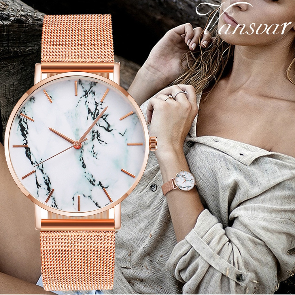 Reloj de lujo con textura de mármol para mujer, reloj informal para mujer, reloj de malla de acero inoxidable 2020, reloj analógico de cuarzo para mujer zegarek damski