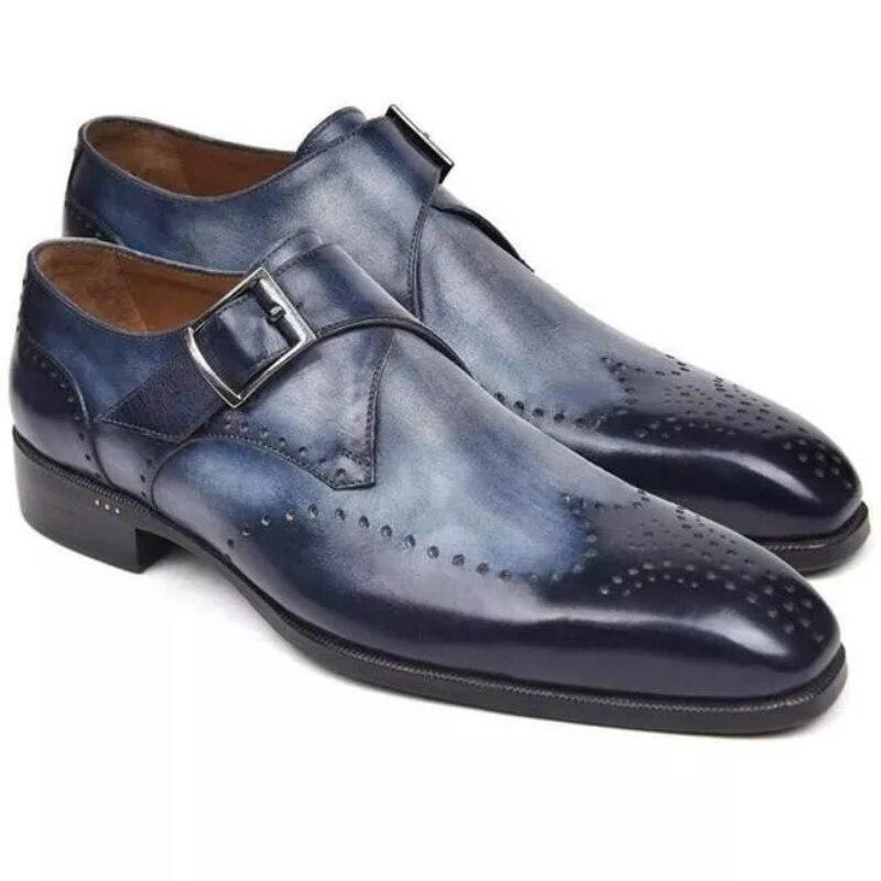 Новинка 2021, мужские деловые туфли-оксфорды, повседневные туфли-Монки из искусственной кожи, удобные модные туфли с вырезами и тиснением, Лид... фото