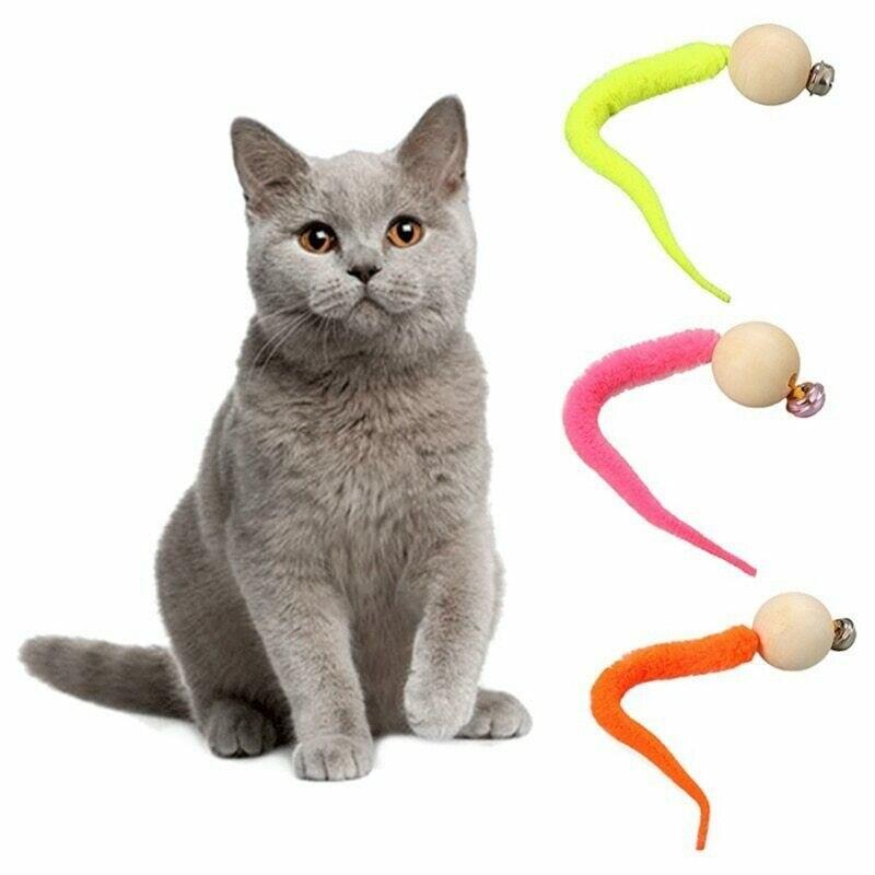 #40 brinquedos aleatórios do gato da cor 1pc 2020 mais novo brinquedo do gato wiggly brinquedo da simulação do verme com sino para o animal de estimação jouet bate-papo