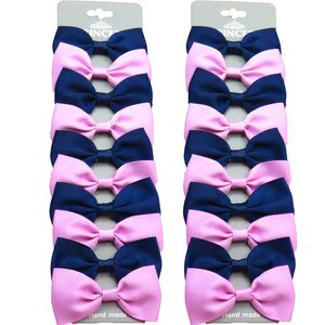 20PCS/Lot Lovely Navy and Pink With Hairpins Grosgrain Ribbon Bows Clips 2020 Korean Creativity Hair Accessories For Baby Girls