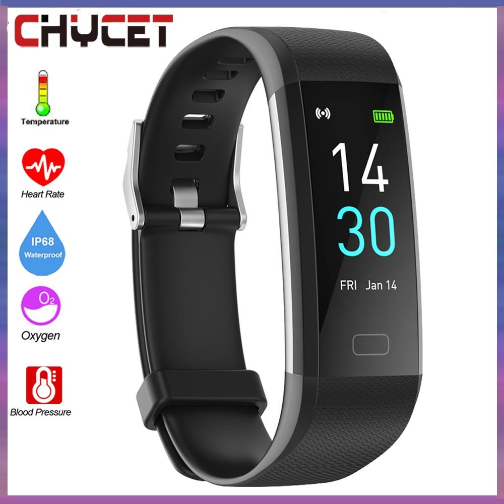 Monitor de Freqüência Bluetooth Banda Inteligente Relógio Ip68 Corpo Termômetro Esporte Pulseira Cardíaca Fitness Rastreador Masculina 5.0
