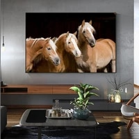 modern animals posters and prints three horses head pictures wall art pictures for living room home decor no frame