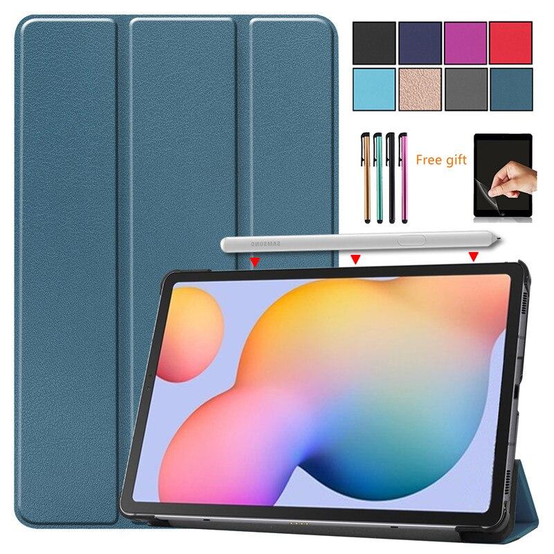 2020 caso para samsung galaxy tab s6 lite 10.4 SM-P610 SM-P615 caso tri-fold suporte de couro do plutônio à prova de choque tablet capa filme + caneta