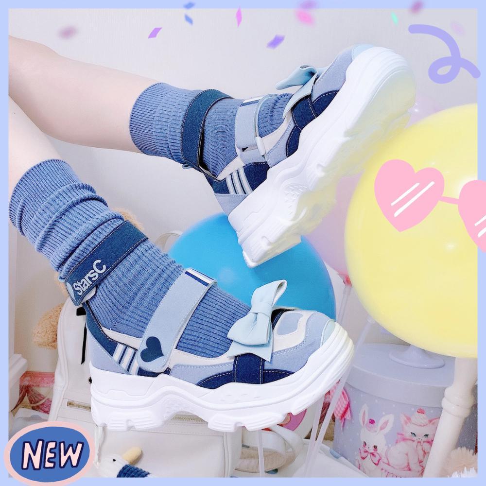 احذية الأميرة اليابانية للنساء ، احذية رياضية كاجوال يابانية ، نعل سميك ، نمط الكلية ، كاواي كوسبلاي لولي