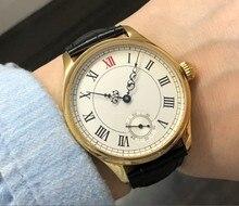 Saphir ou verre minéral 44mm cadran blanc asiatique 6498 17 bijoux mouvement boîtier doré montres mécaniques GR102-20