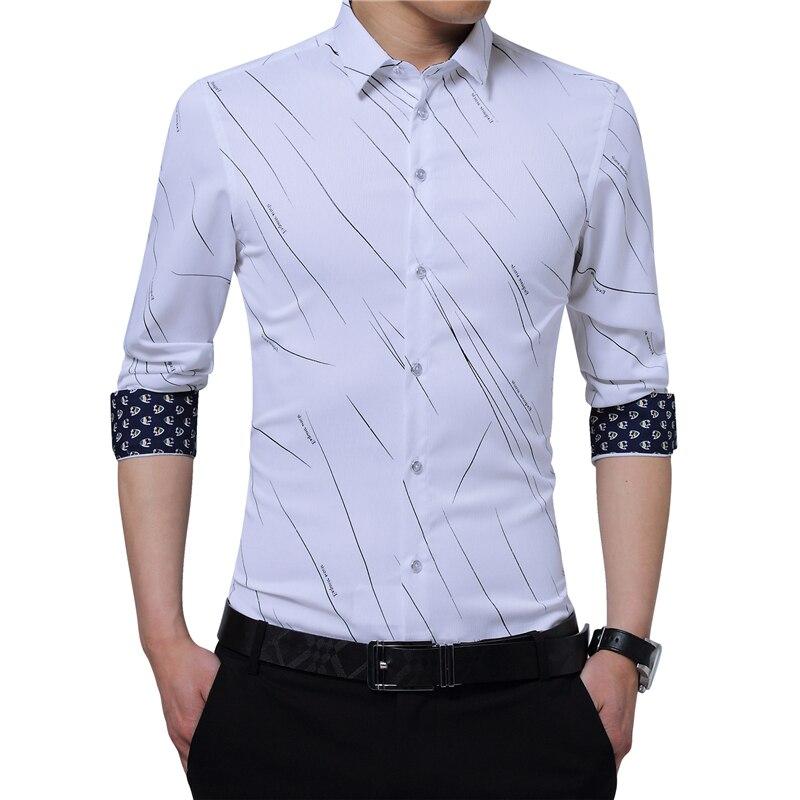 New Arrival Plus rozmiar męskie formalne koszule Meteor drukuj bluzka z długim rękawem koszule męskie M - 5XL importowane koszule męskie