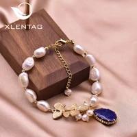 xlentag natural semi baroque white pearl clover bracelets women lapis lazuli pendant wedding gifts of love luxury jewrlry gb0209