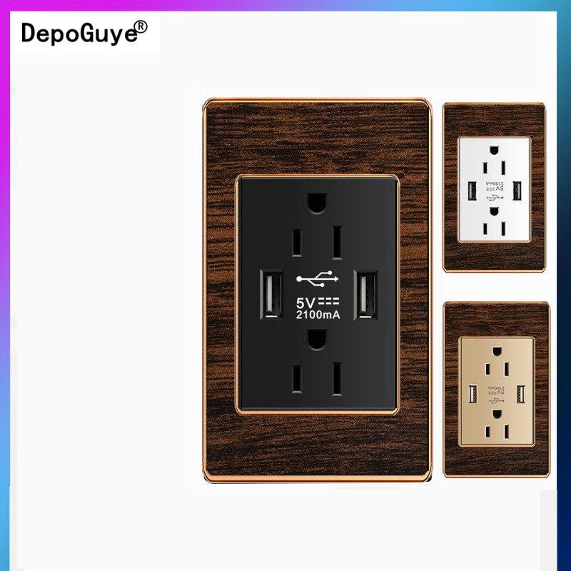 Depoguye الولايات المتحدة القياسية 2USB ميناء مقبس الطاقة ، الخشب الحبوب الرجعية 2.1A المقبس مع USB ، مأخذ الحائط الكهربائية مع شاحن يو اس بي