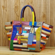 Genuine Leather Cowhide Women Colorful Stripes Stitching Handbag Fashion Casual Shoulder Smiley Ladi