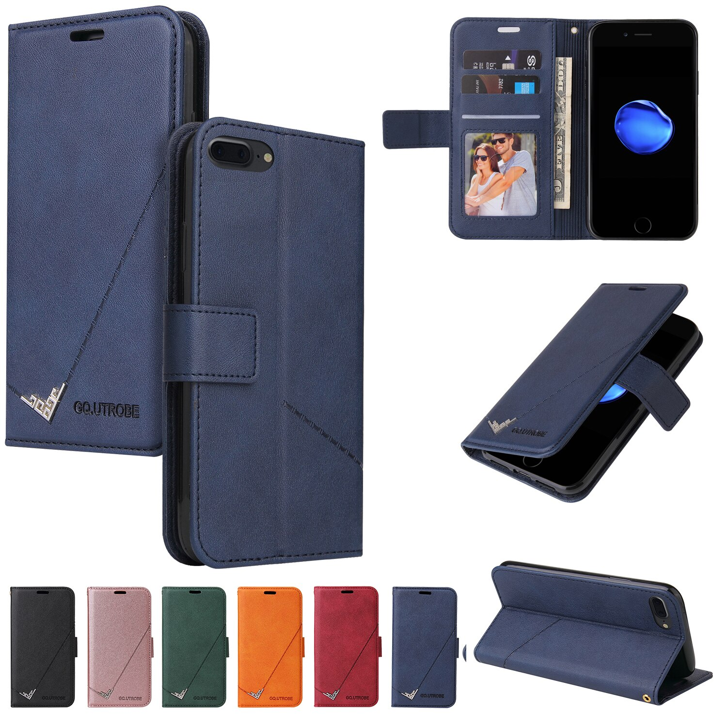 Leather Case for iPhone XR X XS Max Luxury Wallet Card Stand Magnetic Flip Retro Phone Bag Cover