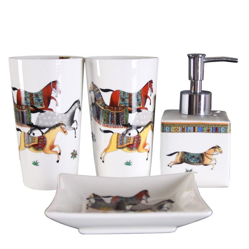 اكسسوارات الحمام مجموعة السيراميك موزع الصابون فرشاة الأسنان حامل الغرغرة كأس طبق مع علبة خيزران هدايا الزفاف عيد