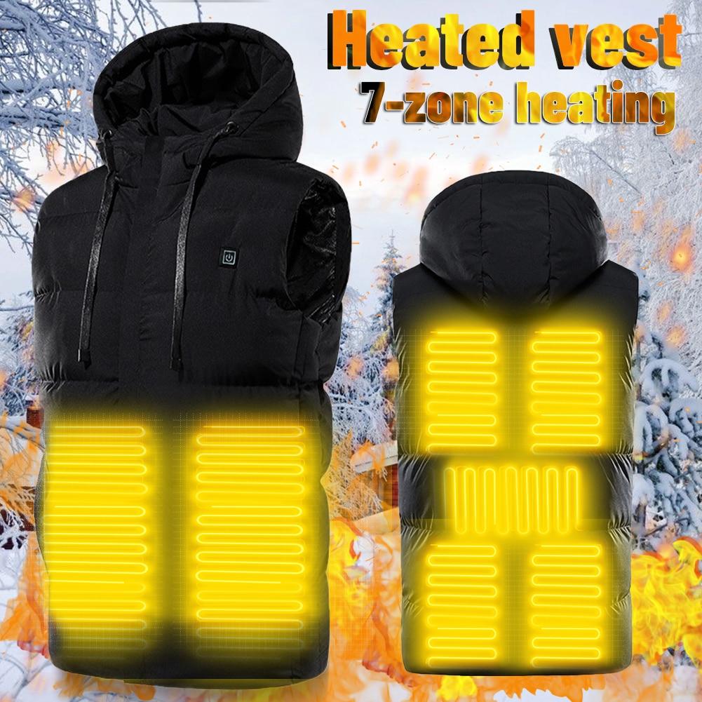 7 منطقة جديد التدفئة سترة منصات للتدفئة الشتاء في الهواء الطلق الرجال تسخين كهربائي سترة USB التدفئة سترة الشتاء الدافئة سترة تسليم سريع