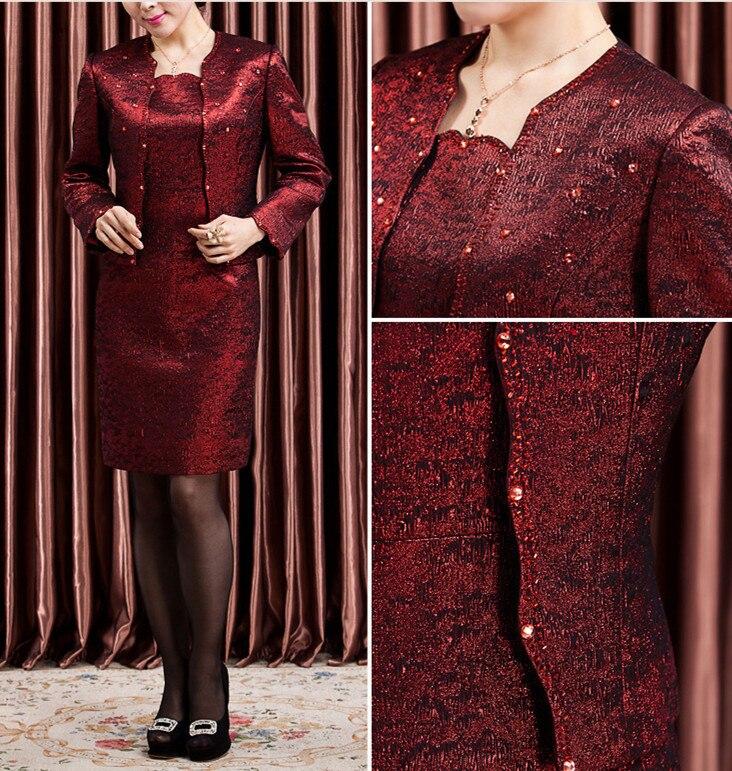 Banquete de Boda, vestido de mamá, quinagenario Twinset, traje con código Will, vestido de otoño, falda autocultivada