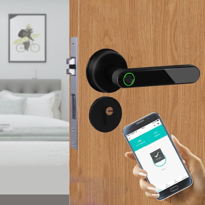 Bluetooth биометрический дверной замок со сканером отпечатков пальцев, управление через приложение, умный дверной замок со сканером отпечатков...