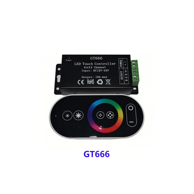 GT666 DC12-24V 6Ax3channel RBG controller Touch led controller for 5050 RGB led strip lights