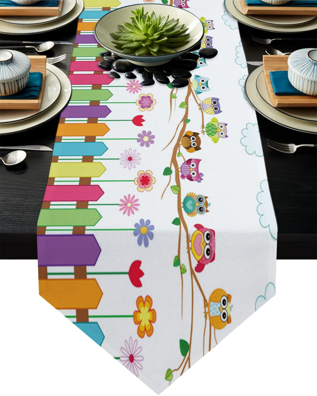 Chico de dibujos animados lindo búho camino de mesa casa cocina camino decorativo para mesa para boda pastel Floral mantel