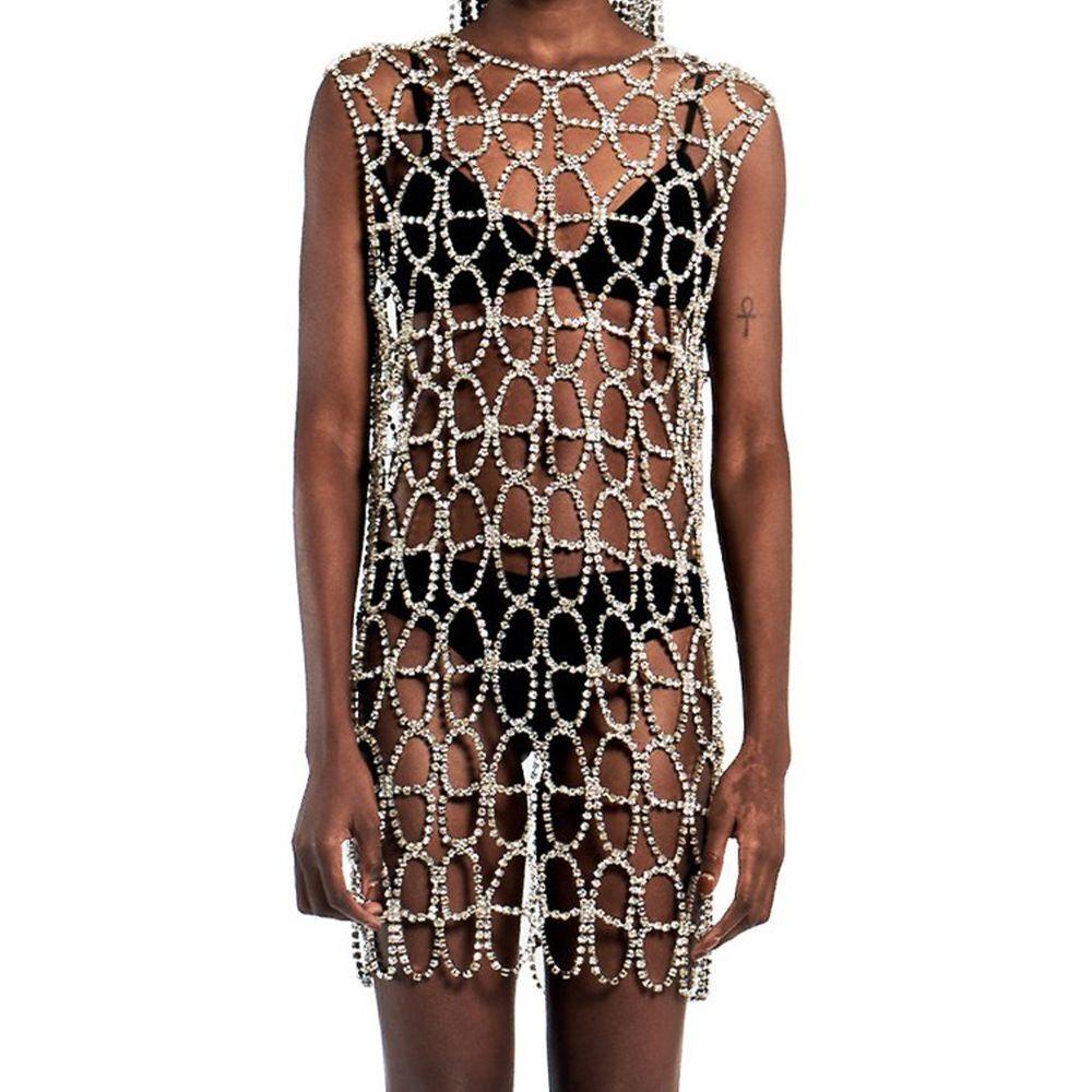 الموضة بالغت حجر الراين فراشة قطعة واحدة الملابس مثير ملهى ليلي مرحلة الأداء الجسم سلسلة مجوهرات اكسسوارات