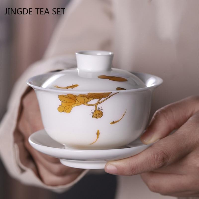 السيراميك الكلاسيكي Gaiwan المنزل طبقة مزدوجة مكافحة السمط الشاي سلطانية الخزف الأبيض مع غطاء الشاي لوازم حفل الشاي