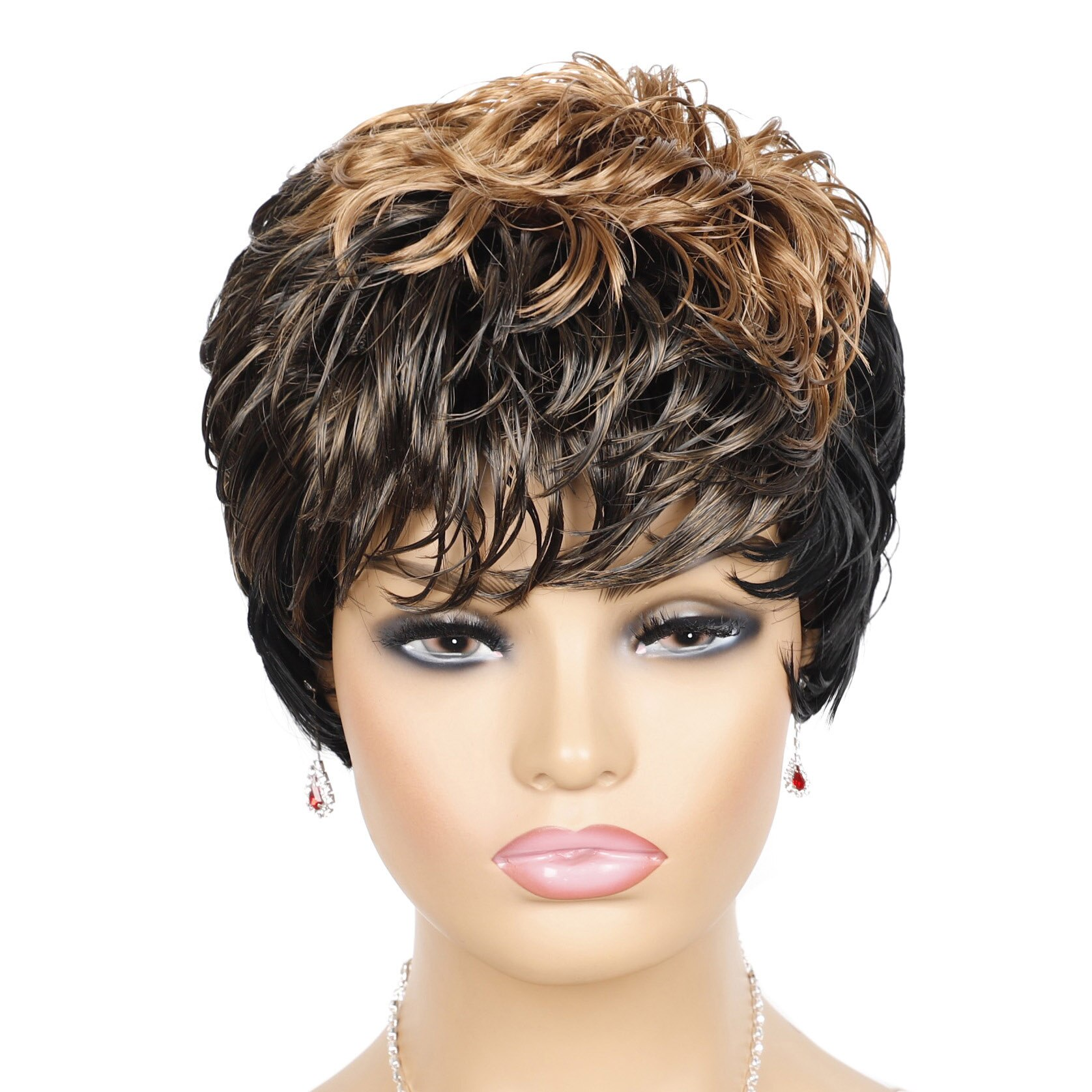 Brown Ombre Black Synthetic Wig Short Pixie Wigs with Bangs for Black Women Daily Use Fake Hair Wig High Temperature Fiber