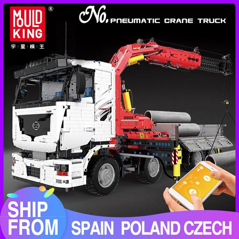 MOULD KING High-Tech The App Motorized Pneumatic Crane Truck Building Blocks Assembly Bricks Car Model Kids Toys Christmas Gift