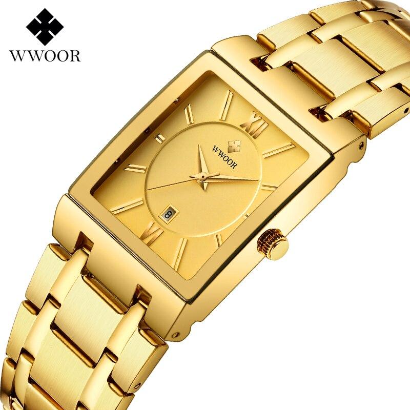 Relogio Masculino WWOOR Gold Watch Men Fashion Square Mens Watches Top Brand Luxury Golden Men's Quartz Wrist Watch Dropshipping