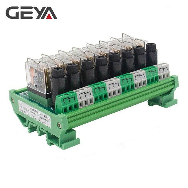 Module de relais Omron GEYA NGG2R 8 canaux pour contrôleur PLC relais PLC SPDT 12VDC 24VDC avec Protection fusible 8A