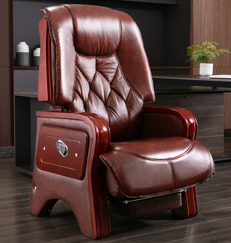 Leather boss chair home office chair back reclining massage computer chair office chair swivel chair leather computer chair household office chair office stool long sitting chair solid wood boss chair lying massage