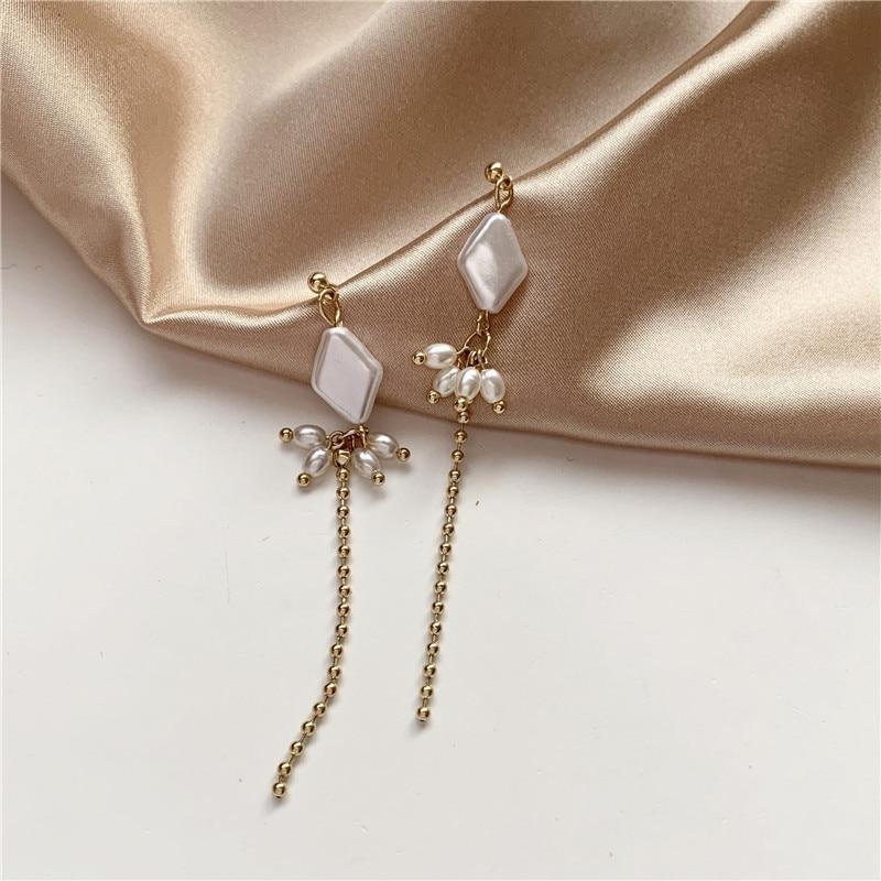Corea moda personalidad perla cuenta oreja gota borla rombico simple joker pendientes colgantes largos Mujer