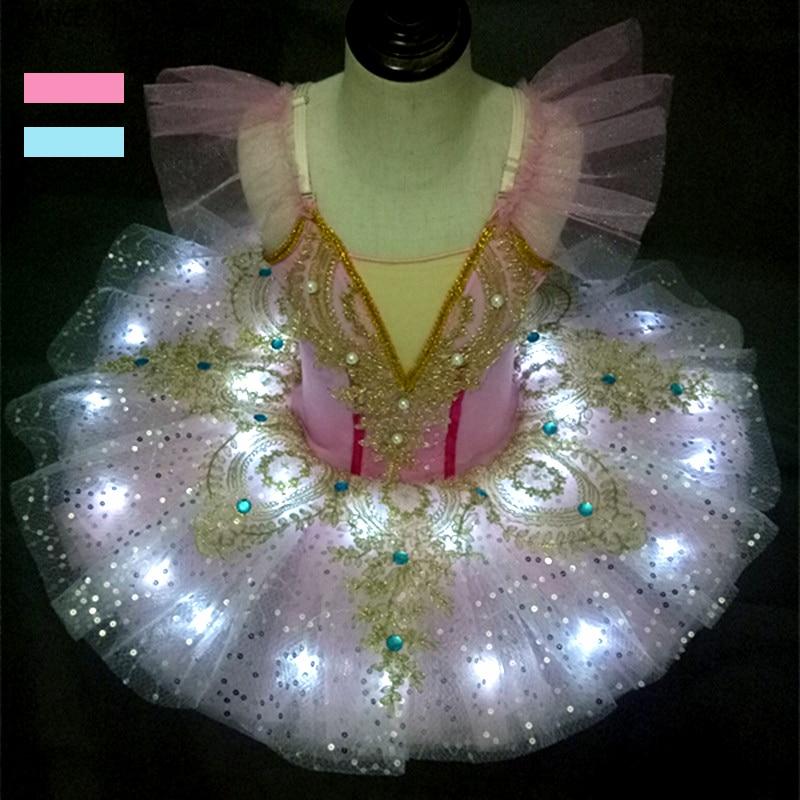 Ballet Platter Tutu Led Light Dance Costume Child Kids Girls Blue Pink Pancake Tutu Professional Ballet Costumes Halloween Party недорого