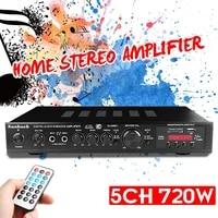 Amplificateur Bluetooth 5CH stereo AV puissance Surround basse 110V voiture Audio Subwoofer haut-parleurs LED amplificateur numerique pour karaoke cinema