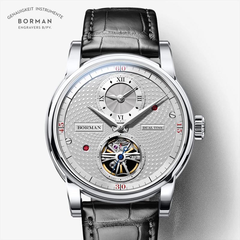 BORMAN automatic men watch luxury brand mechanical self wind wrist watches leather band dress relogi