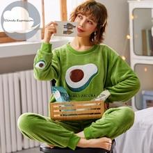 Winter Warm Flanell Elegante Frauen Nachtwäsche Pyjamas dame Cartoon Druck Pyjama Set Pullover Korallen Fleece Pijamas Mujer Startseite Anzüge