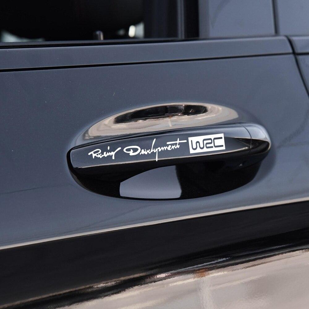 4 Uds estilo de coche de moda creativa Auto adhesivos decorativos Mundial de carreras desarrollo WRC para coche manija de la puerta de carrocería de vinilo calcomanías