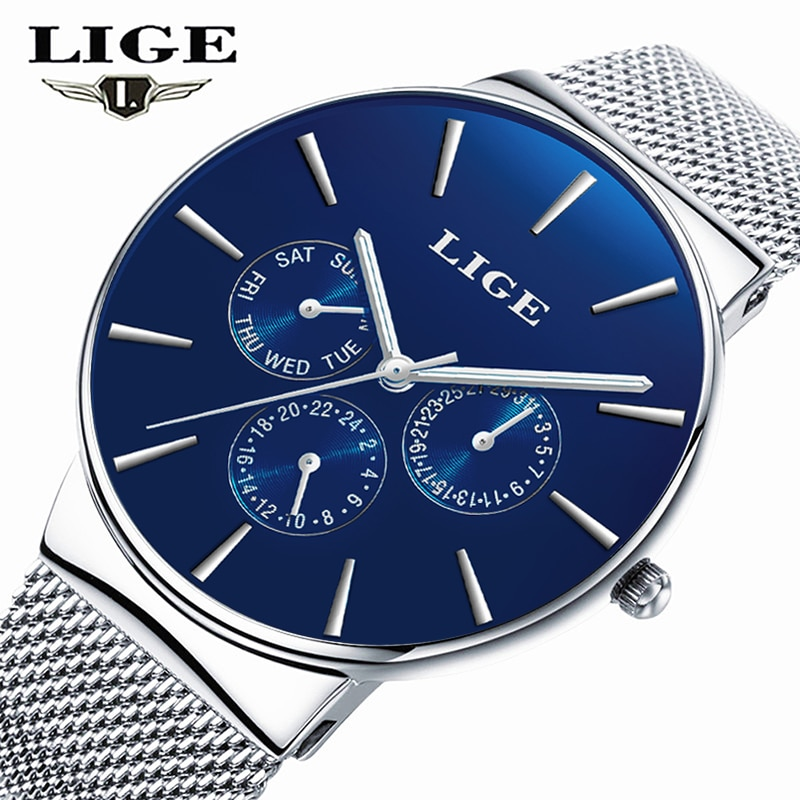 LIGE New Dress Women Watches Fashion Casual Rose Gold Quartz Watch Laides Business mesh steel Waterproof Clock Relogio Feminino enlarge