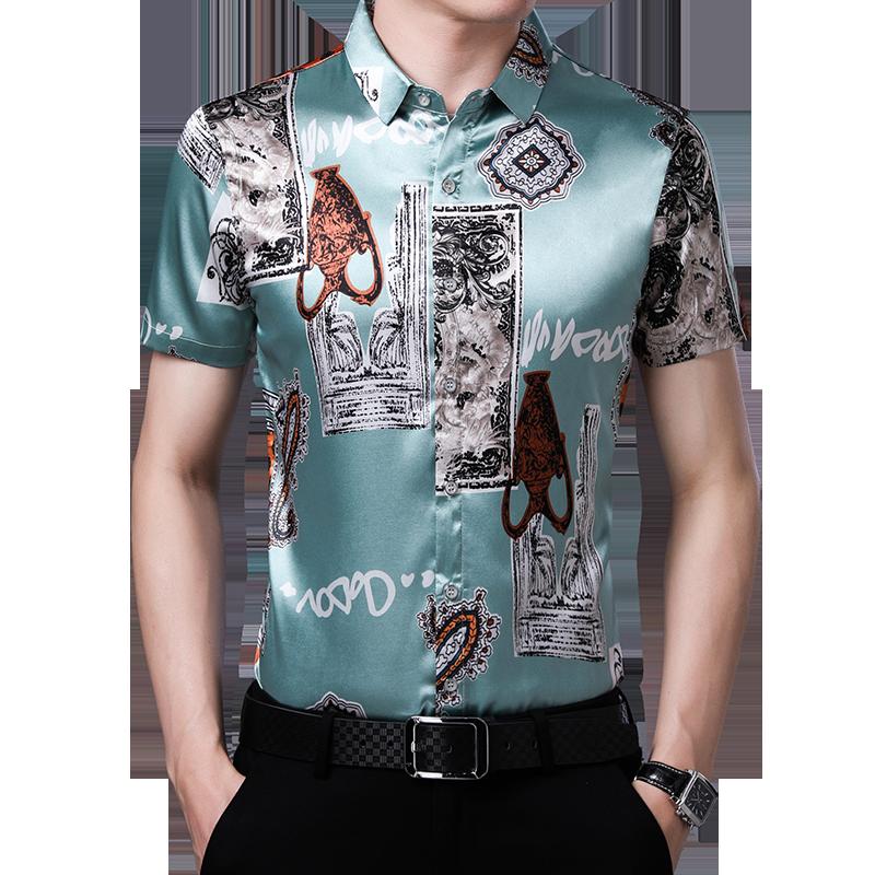 Male Silk Shirt Summer Floral Printed Silk Clothes  Fashion Man Printing Satin Silk Dress Shirts Short Sleeve