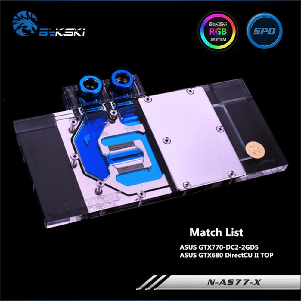 BYKSKI Gpu Full Cover Graphics Card Block use for ASUS GTX770-DC2OC-4GD5 / DC2-2GD5 Copper Radiator Block use for Video Card RGB