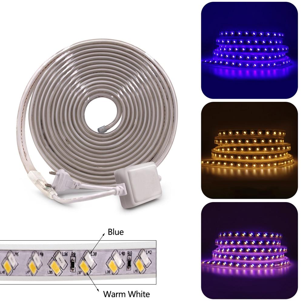 LED Strip SMD5630 5730 220V Double Color LED Strip Lamp Tape 120Leds/m Flexible Led Ribbon Waterproof Led Light with EU Plug