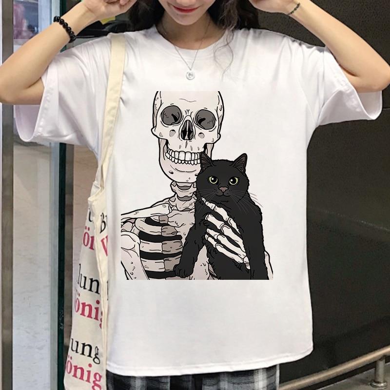 2020 New Womens T Shirt Skull and Cute Cat Women T Shirt Harajuku Female T-shirt Gothic Short Sleeve kawaii  Fashion Tee Tops