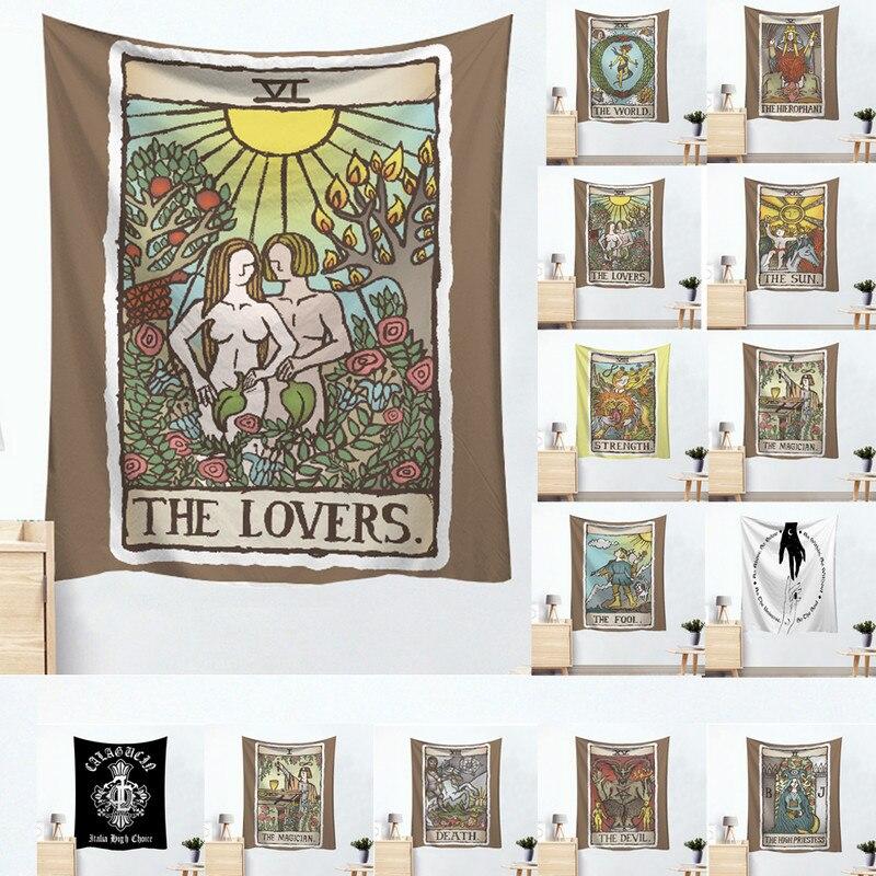 95X73cm Tarot Card algodón cartel colgante de pared tapiz Hippie bohemio Mandala tapiz decoración del hogar