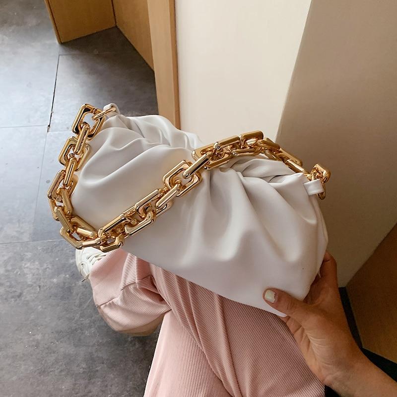 Gold Chain Cloud Bags For Women 2021 Summer PU Leather Crossbody Bags For Women Luxuury Elegant Shoulder Handbags