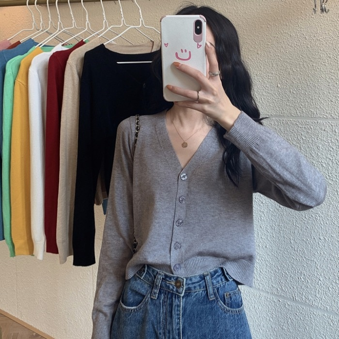Short Knitted Cardigan Women's Early Spring Thin Korean Style Loose Gentle V-neck Outerwear Long Sle