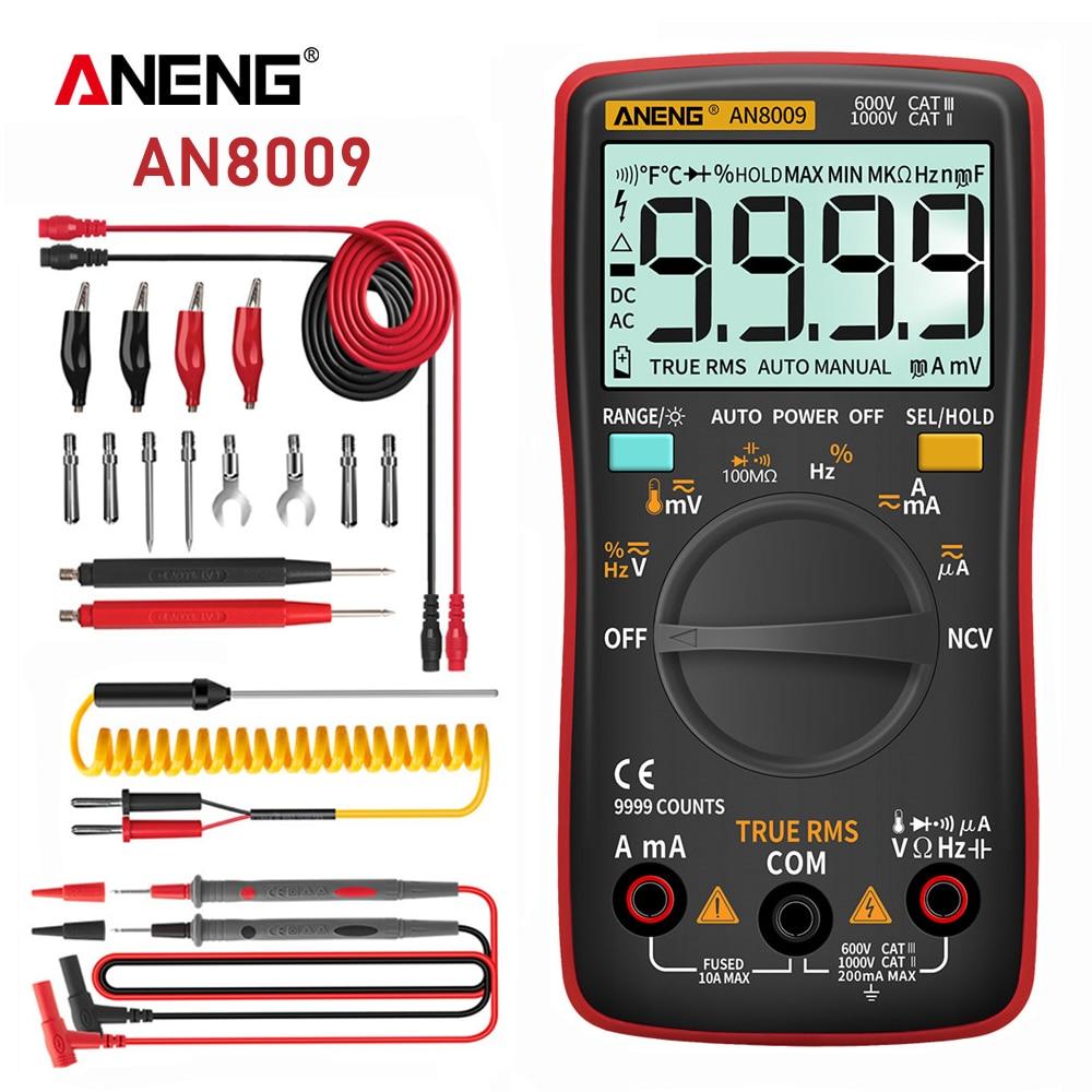ANENG AN8009 multímetro tester polimetro multimetro Digital profesional True-RMS transistor probador condensador...