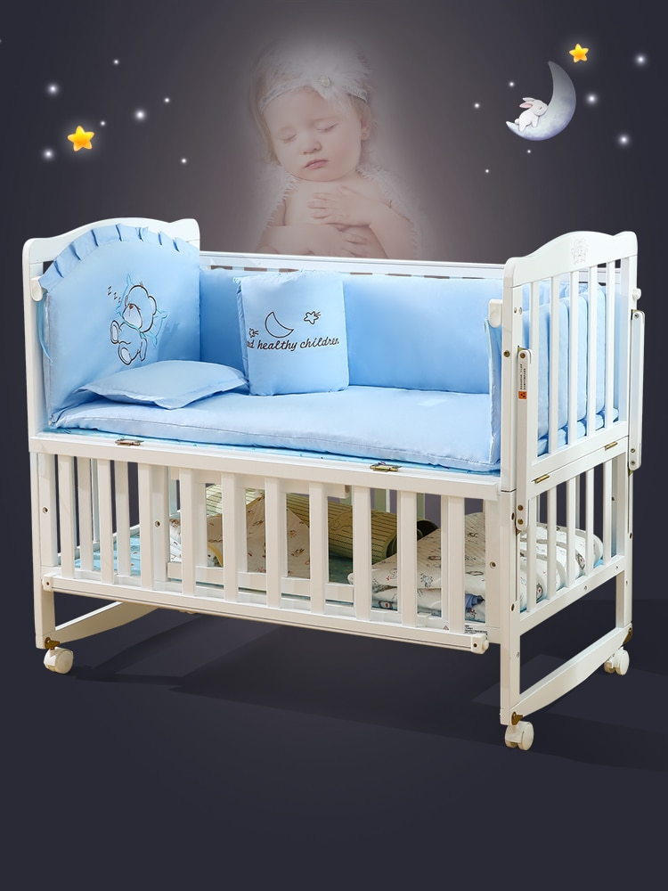 6135 Newborns Baby Crib European Style Solid Wood Multi-functional BB Bed Removable Crib White Bed Joint Bed enlarge