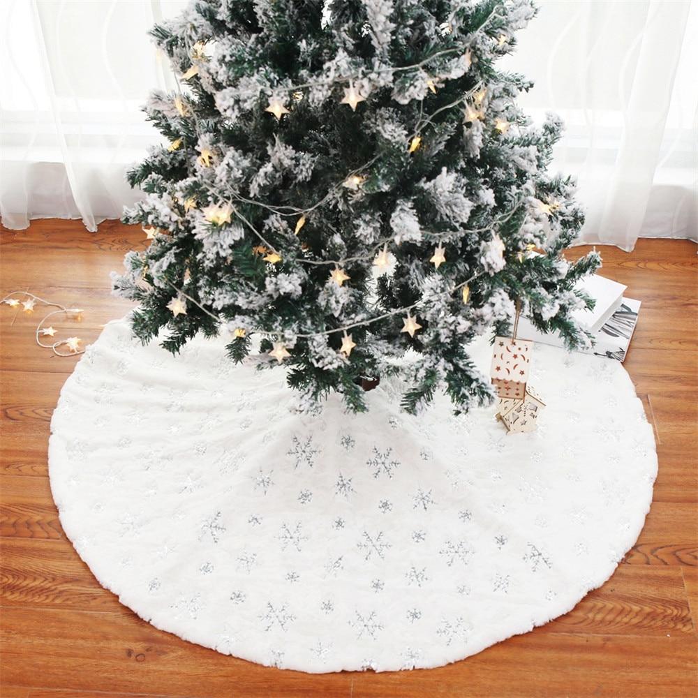 skidproof christmas lighting tree pattern rug 122cm Plush Sequin Christmas Tree Dress Embroidered Round Snowflake Fabric Rug Tree Mat Christmas Party Decoration 2022 Navidad
