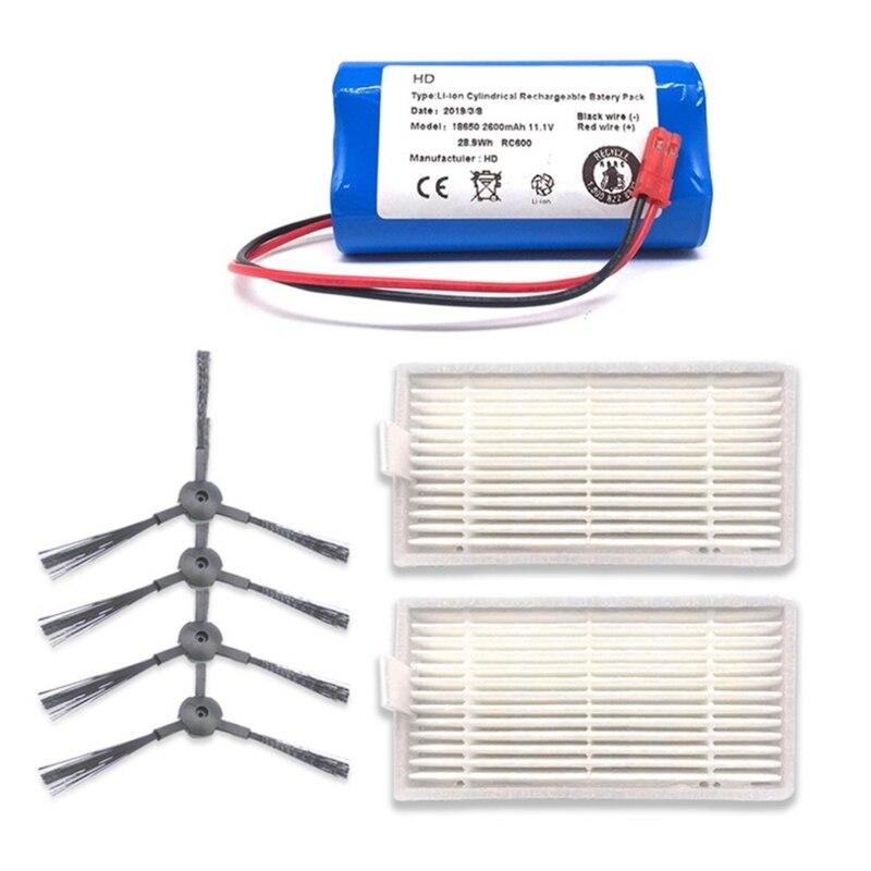 Venda quente 11.1v 2600mah recarregável para a bateria ilife + filtro de escova aspirador robótico acessórios para ilife v3 v5 v5s v5s