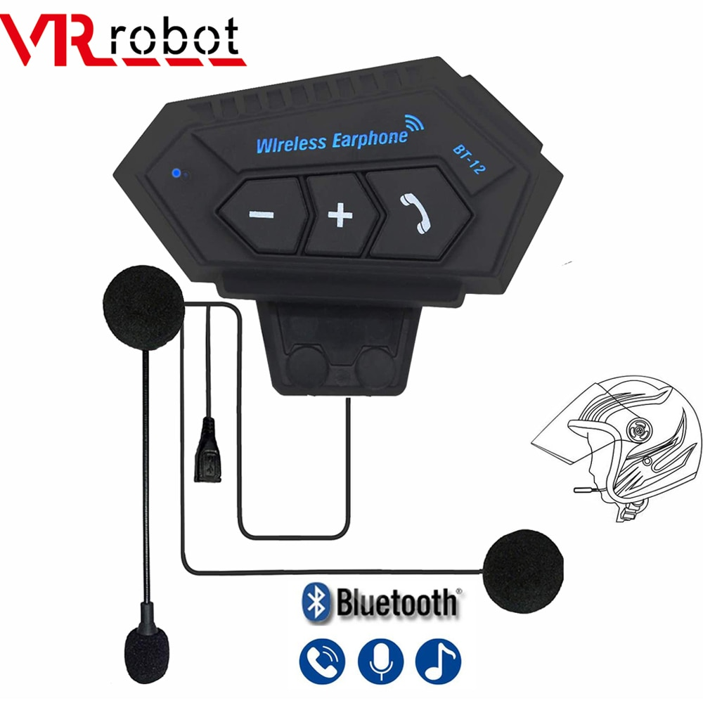 BT12 Motorcycle Headset Stereo Bluetooth Helmet Earphone Wireless Handsfree Headphones Music Player For Motorbike Rider