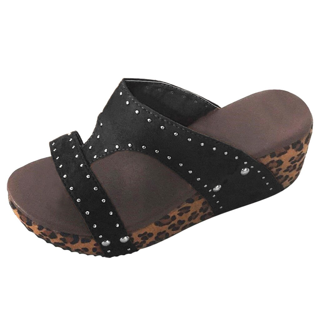 New Arrival Women Leopard Wedges Sandals Women's Summer Slippers Fashion PU Leather Beach Sandals Shoes Woman Wedges Sandals