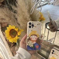 iphone case oil painting girl apple 12promax case suitable for iphone11 promax soft shell ins wind 8plus x all inclusive xsmax