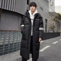winter new couple models 90 white duck down hooded big pockets youth fashion trend loose coat thick men and women down jacket